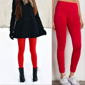 LIPSTICK RED FLEECED LINED leggings